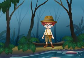 En pojke scount i skogen nära sjön vektor