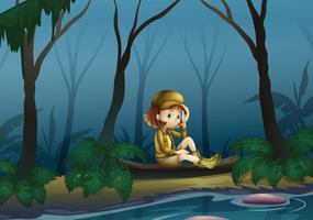 En tjej som sitter på ett trä längs floden