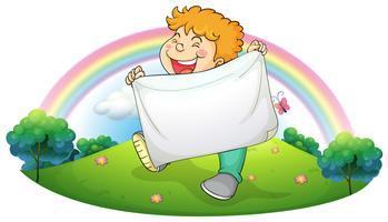 En pojke med en vit banner vektor
