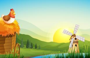 Ein Bauernhof mit einem Scheunenhaus und einer Windmühle vektor