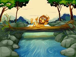 Ett lejon med en krona vid floden vektor