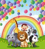 Tiere unter den schwimmenden Luftballons und Regenbogen vektor