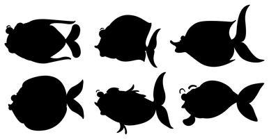 Silhouetten der verschiedenen Meerestiere vektor