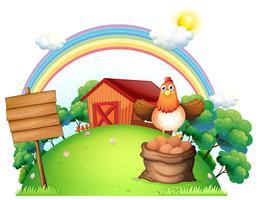 Eine Henne über einem Sack voller Eier in der Nähe des leeren Brettes