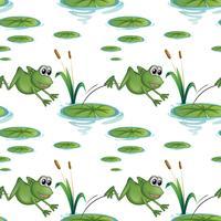 Sömlös design med grodor vid dammen vektor