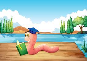 Ein Wurm, der ein Buch in der Nähe des Teiches liest vektor