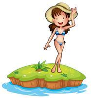 Eine Insel mit einem Mädchen im Bikini vektor