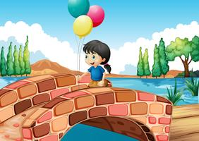 Ein Mädchen mit drei Ballons entlang der Brücke vektor