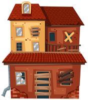 Gamla hus med röda tegelstenar