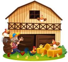 Bauer und Hühner auf dem Bauernhof vektor