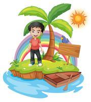 Eine Insel mit einem Jungen in der Nähe der leeren Beschilderung
