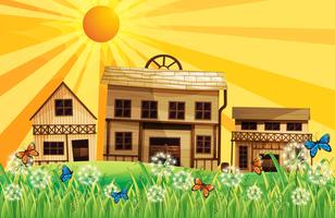 Die Holzhäuser und der Sonnenuntergang