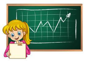 Ein lächelndes Mädchen mit einem leeren Signage, der vor der Tafel steht vektor