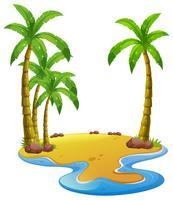 Ö med kokospalmer