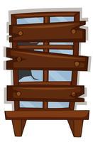 Zerbrochenes Fenster mit Holzbrett darauf genagelt