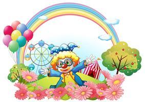 Ein Clown im Garten am Hügel