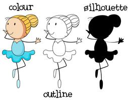 Ein Set Ballettmädchen mit unterschiedlichem Grafikdesign