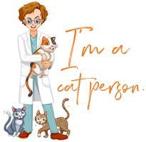 Wortausdruck für mich ist eine Katzenperson mit vielen Katzen im Hintergrund