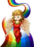 En ängel ovanför regnbågen vektor
