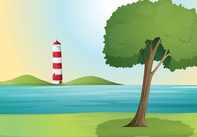 ein Meer und ein Leuchtturm