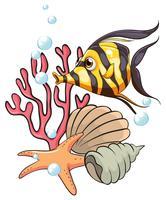 Ein streifenfarbener Fisch unter dem Meer vektor