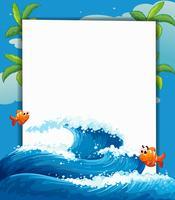 Ein leeres Schild mit zwei kleinen Fischen vektor