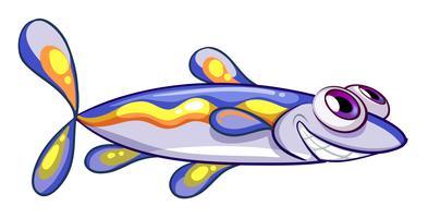 Ein langgestreckter blauer Fisch