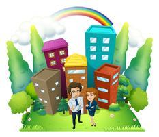En man och en kvinna som står framför de höga byggnaderna vektor