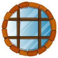 Fenster mit runden Ziegeln an der Grenze