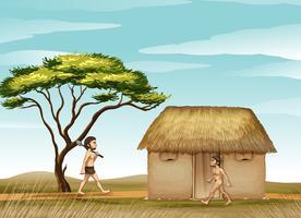 män och ett hus vektor