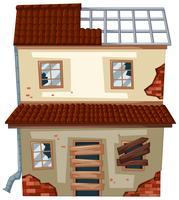 Gamla hus med förstörda fönster