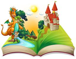 Buch des Drachen und des Ritters vektor