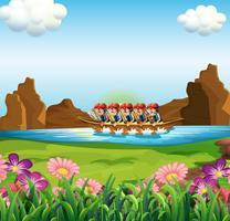 En grupp män båtliv