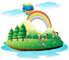 Barn leker i marken vektor