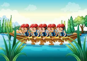 Eine Gruppe von Männern beim Bootfahren
