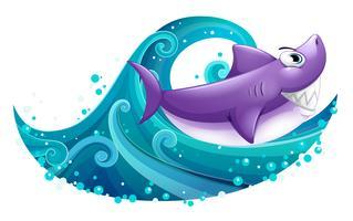 En stor våg med en haj