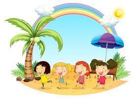 Unga kvinnor på stranden vektor