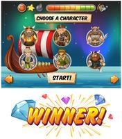 Slot-Game-Vorlage mit Wikinger-Figuren