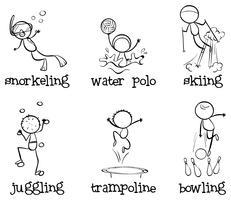 Olika inomhus och utomhusaktiviteter