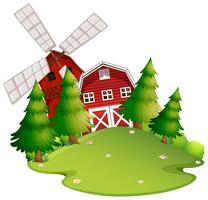 Gårdscens med ladugård och väderkvarn