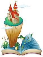 Ein offenes Buch mit einem Bild einer Burg auf einer Insel