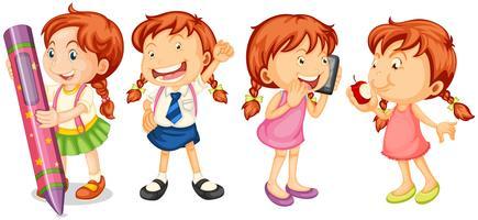 Flickor gör olika handlingar vektor
