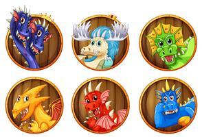 Olika karaktärer av drakar
