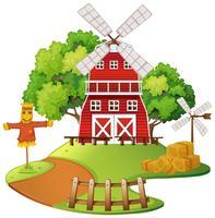 Bauernhofszene mit Windmühle und Vogelscheuche vektor