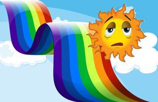En regnbåge bredvid den sorgliga solen vektor