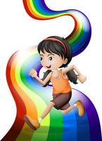 Ein Regenbogen mit einer jungen Frau läuft vektor