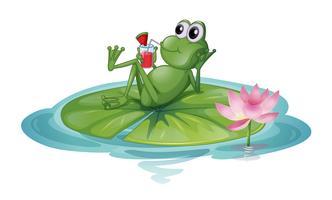 Ein Frosch, der auf einem Blatt sich entspannt vektor