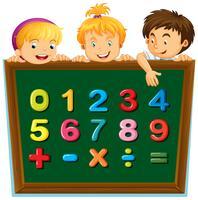 Schulkinder und Zahlen an Bord vektor