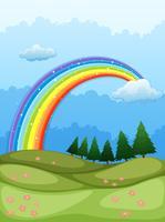 En regnbåge i himlen vektor