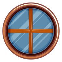 Rundes Fenster mit Holzrahmen vektor
